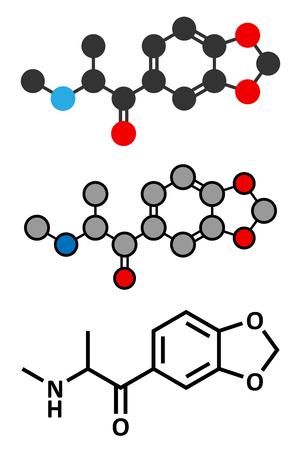 Methylone (bk-MDMA) stimulant molecule. Used as recreational drug. Stylized 2D renderings and conventional skeletal formula.