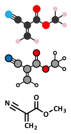 polymerization: Methyl cyanoacrylate molecule, the main component of cyanoacrylate glues (instant glue). Stylized 2D renderings and conventional skeletal formula.