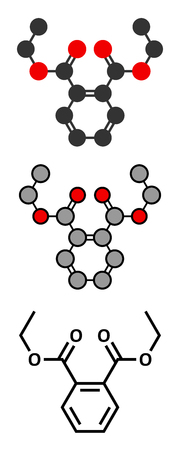 teratogenic: Diethyl phthalate (DEP) plasticizer molecule. Stylized 2D renderings and conventional skeletal formula. Illustration