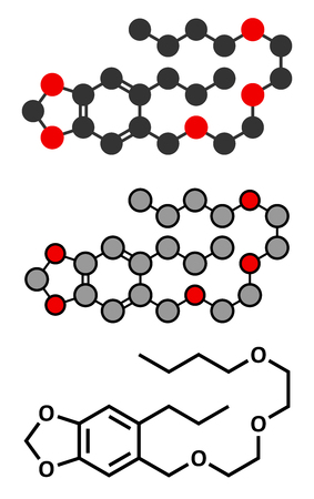 potency: Piperonyl butoxide (PBO) pesticide synergist molecule. Increases potency of insecticides by inhibiting breakdown by cytochrome P450. Stylized 2D renderings and conventional skeletal formula.