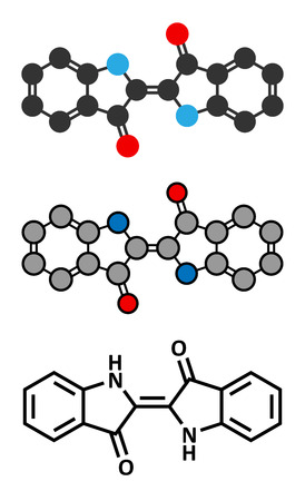 dye: Indigotin indigo dye molecule. Used to color cotton in the production of denim cloth for blue jeans. Stylized 2D renderings and conventional skeletal formula.