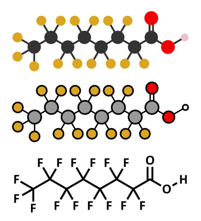 Perfluorooctanoic acid (PFOA, C8) molecule. Important and persistent pollutant. Stylized 2D renderings and conventional skeletal formula.