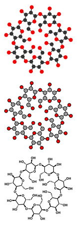 pharmaceuticals: Beta-cyclodextrin molecule. Used in pharmaceuticals, food, deodorizing products, etc. Composed of glucose molecules. Stylized 2D renderings and conventional skeletal formula. Illustration