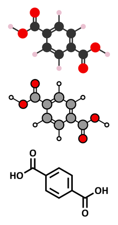 polymerization: Terephthalic acid, polyester (PET, polyethylene terephthalate) plastic building block. Stylized 2D renderings and conventional skeletal formula. Illustration