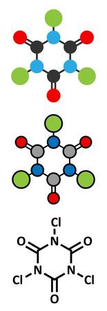 desinfectante: ácido tricloroisocianúrico (ATCC) molécula. Se utiliza como desinfectante piscina, en el saneamiento civil, tal como agente blanqueador, etc. representaciones 2D y estilizado fórmula esquelética convencional.