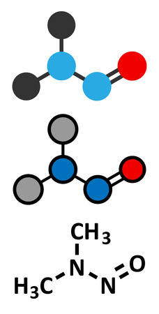suspected: N-Nitrosodimethylamine (dimethylnitrosamine, NDMA, DMN) pollutant molecule. Highly toxic, especially to the liver and suspected carcinogen. Stylized 2D renderings and conventional skeletal formula.