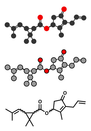 insecticide: Allethrin pyrethroid insecticide. Synthetic analog of chrysanthemum flower chemical. Often used against mosquitos. Stylized 2D renderings and conventional skeletal formula.