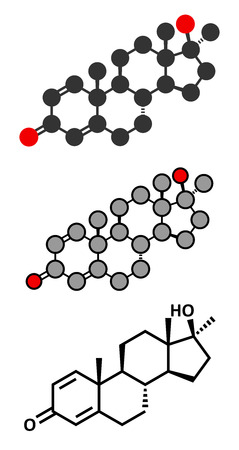steroid: Methandrostenolone (metandienone) anabolic steroid drug. Stylized 2D renderings and conventional skeletal formula.