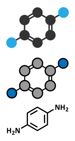 precursor: p-Phenylenediamine (PPD) hair dye molecule. Also precursor in polymer synthesis. Known contact allergen, possibly carcinogenic. Stylized 2D renderings and conventional skeletal formula. Illustration