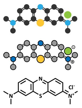 Methylene blue (methylthionium chloride) dye molecule. Stylized 2D renderings and conventional skeletal formula.
