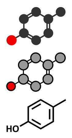 creosote: P-cresol (para-cresol, 4-methylphenol) molecule. Component of human sweat. Stylized 2D renderings and conventional skeletal formula.