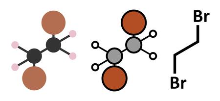 glycol: Ethylene dibromide (EDB, 1,2-dibromoethane) fumigant molecule. Stylized 2D renderings and conventional skeletal formula.