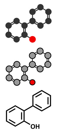 preservative: 2-Phenylphenol biocide molecule. Commonly used preservative; also known as biphenylol and orthophenyl phenol. Stylized 2D renderings and conventional skeletal formula.
