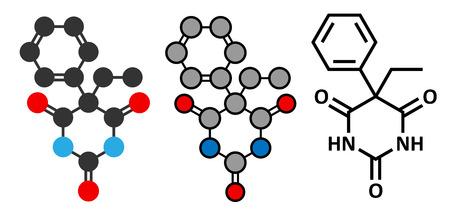 anticonvulsant: Phenobarbital barbiturate anticonvulsant (epilepsy drug) molecule. Stylized 2D renderings and conventional skeletal formula.
