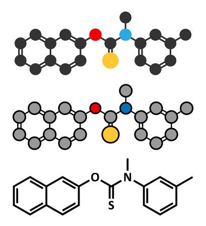 Tolnaftate antifungal drug molecule. Stylized 2D renderings and conventional skeletal formula.