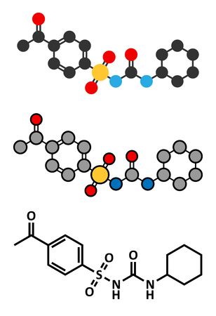 endocrinology: Acetohexamide diabetes drug molecule. Stylized 2D renderings and conventional skeletal formula. Illustration
