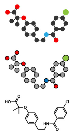 Bezafibrate hyperlipidemia drug molecule (fibrate class). Stylized 2D renderings and conventional skeletal formula. Illustration