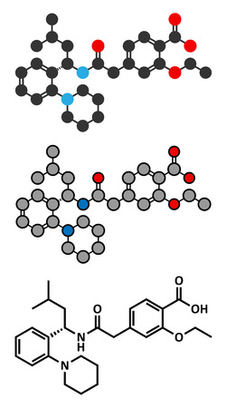 endocrinology: Repaglinide diabetes drug molecule. Stylized 2D renderings and conventional skeletal formula. Illustration