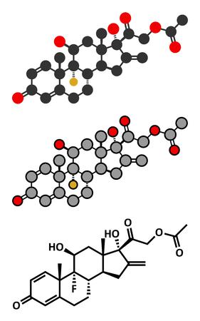 acetate: Fluprednidene acetate corticosteroid molecule. Stylized 2D renderings and conventional skeletal formula.