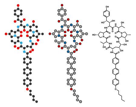candida: Anidulafungin antifungal drug molecule. Stylized 2D renderings and conventional skeletal formula. Illustration