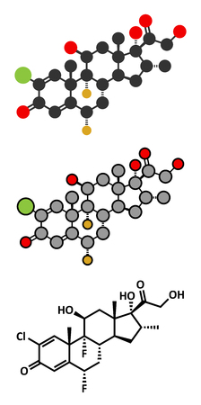 topical: Halometasone topical corticosteroid drug molecule. Stylized 2D renderings and conventional skeletal formula.