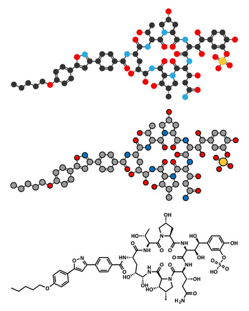 candida: Micafungin antifungal drug molecule. Stylized 2D renderings and conventional skeletal formula.