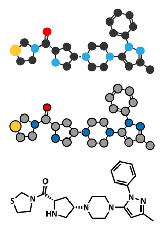 endocrinology: Teneligliptin diabetes drug molecule. Stylized 2D renderings and conventional skeletal formula.