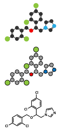 Miconazole antifungal drug molecule. Stylized 2D renderings and conventional skeletal formula.