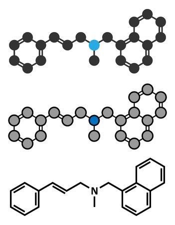 Naftifine antifungal drug molecule. Stylized 2D renderings and conventional skeletal formula.