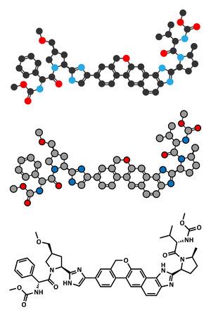 virology: Velpatasvir hepatitis C virus (HCV) drug molecule. Stylized 2D renderings and conventional skeletal formula.
