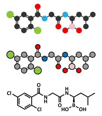 boron: Ixazomib multiple myeloma drug molecule. Stylized 2D renderings and conventional skeletal formula.