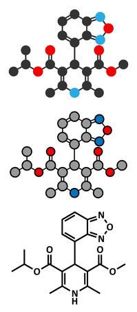 hypertension: Isradipine hypertension drug molecule. Stylized 2D renderings and conventional skeletal formula.