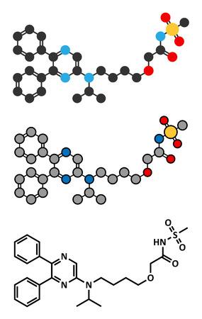 agonist: Selexipag pulmonary arterial hypertension drug molecule. Stylized 2D renderings and conventional skeletal formula.