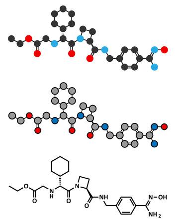 anticoagulant: Ximelagatran anticoagulant drug molecule (direct thrombin inhibitor). Stylized 2D renderings and conventional skeletal formula. Illustration
