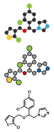 Tioconazole antifungal drug molecule. Stylized 2D renderings and conventional skeletal formula.