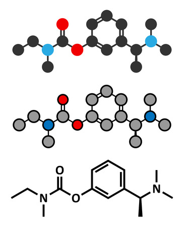 alzheimer's: Rivastigmine dementia drug molecule. Stylized 2D renderings and conventional skeletal formula. Illustration