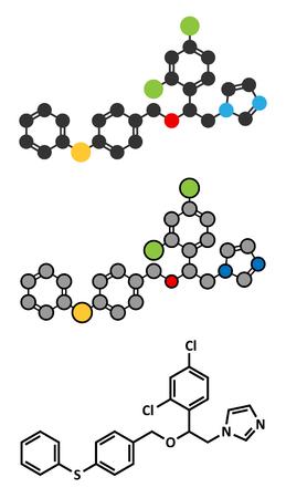 vaginal: Fenticonazole antifungal drug molecule. Stylized 2D renderings and conventional skeletal formula.