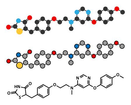endocrinology: Lobeglitazone diabetes drug molecule. Stylized 2D renderings and conventional skeletal formula.