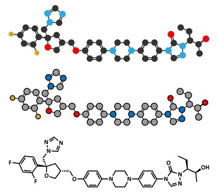 candida: Posaconazole antifungal drug molecule. Stylized 2D renderings and conventional skeletal formula. Illustration