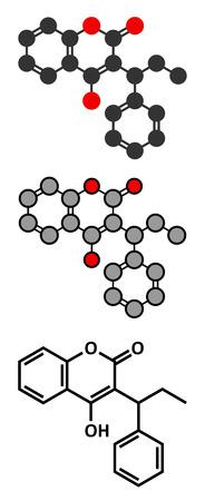 anticoagulant: Phenprocoumon anticoagulant drug molecule (vitamin K antagonist). Stylized 2D renderings and conventional skeletal formula.