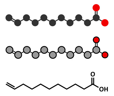 Undecylenic acid topical antifungal drug molecule. Stylized 2D renderings and conventional skeletal formula. Illustration