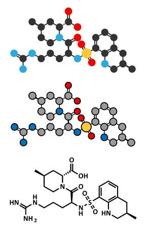 anticoagulant: Argatroban anticoagulant drug molecule (direct thrombin inhibitor). Stylized 2D renderings and conventional skeletal formula.
