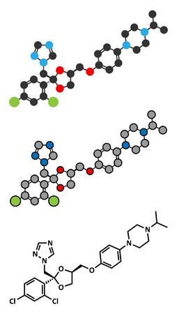 vaginal: Terconazole antifungal drug molecule. Stylized 2D renderings and conventional skeletal formula.