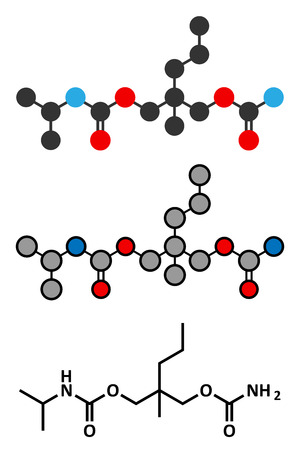 in somnolence: Carisoprodol drug molecule. Stylized 2D renderings and conventional skeletal formula.