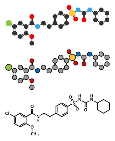 beta cells: Glibenclamide (glyburide) diabetes drug molecule. Stylized 2D renderings and conventional skeletal formula. Illustration