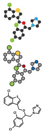 Sertaconazole antifungal drug molecule. Stylized 2D renderings and conventional skeletal formula.