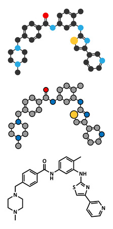 fibroblast: Masitinib cancer drug molecule. Stylized 2D renderings and conventional skeletal formula. Illustration