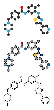 Masitinib cancer drug molecule. Stylized 2D renderings and conventional skeletal formula. Illustration