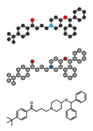 antihistamine: Ebastine antihistamine drug molecule. Stylized 2D renderings and conventional skeletal formula.