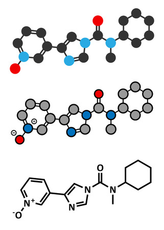 BIA 10-2474 experimental drug molecule. Fatty acid amide hydrolase (FAAH) inhibitor that caused severe adverse events in a clinical trial in France in 2016. Stylized 2D renderings and conventional skeletal formula.